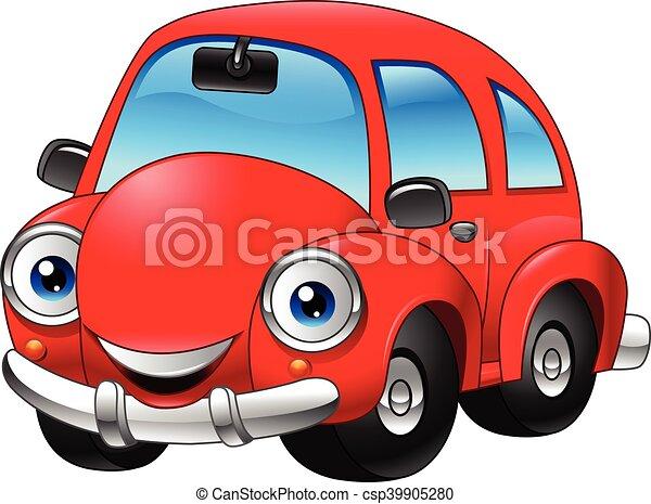 Divertente Cartone Animato Macchina Rossa Divertente Rosso Cartone Animato Illustrazione Automobile Canstock
