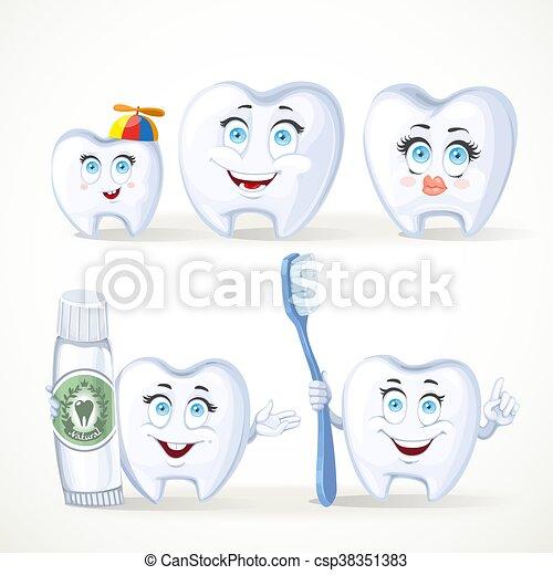 divertente, denti, dentale, famiglia, isolato, dente, spazzolino, padre, fondo, denti, madre, bianco, bambino, dentifricio - csp38351383