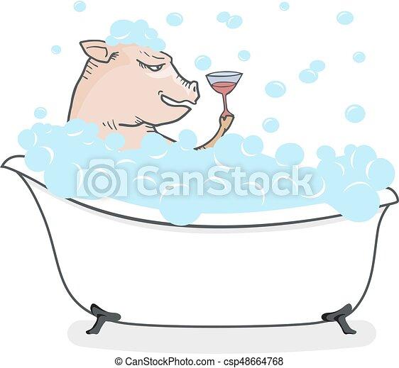 Divertente, disegnare, vasca bagno, maiale. Divertente,... vettore ...