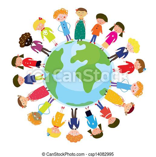divertente, globo, bambini, cartone animato, internazionale - csp14082995