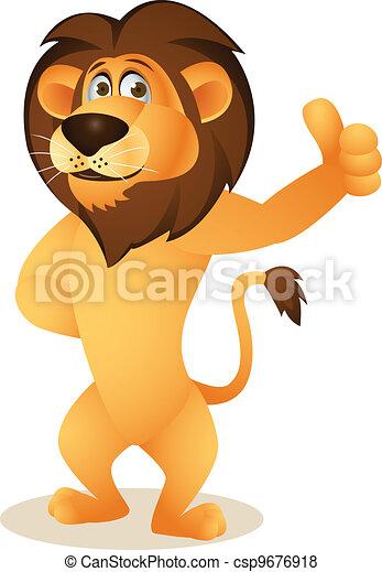 divertente, leone, cartone animato - csp9676918