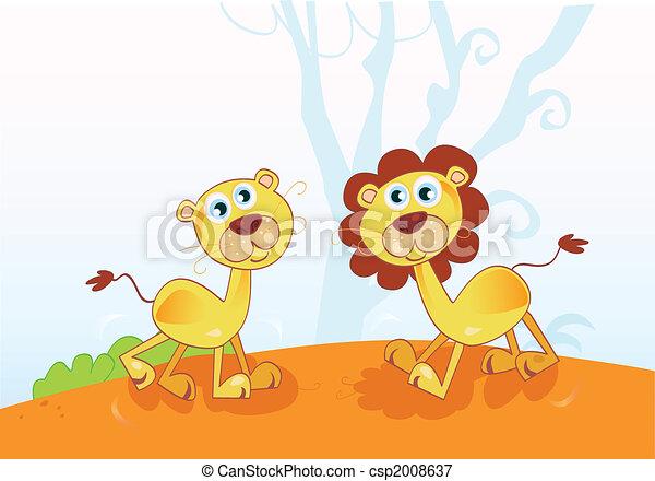 divertente, leoni, africano - csp2008637