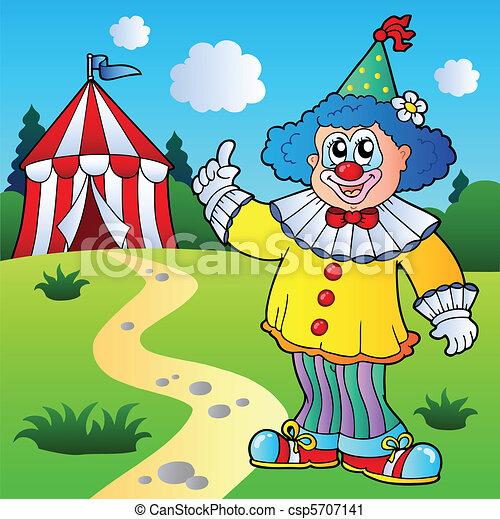 divertente, pagliaccio circo, tenda - csp5707141