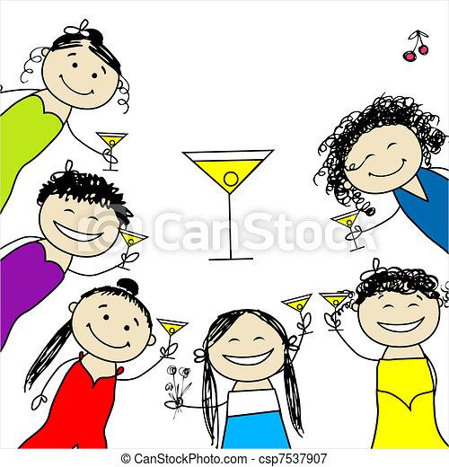 divertente, party!, disegno, gallina, amici, tuo - csp7537907