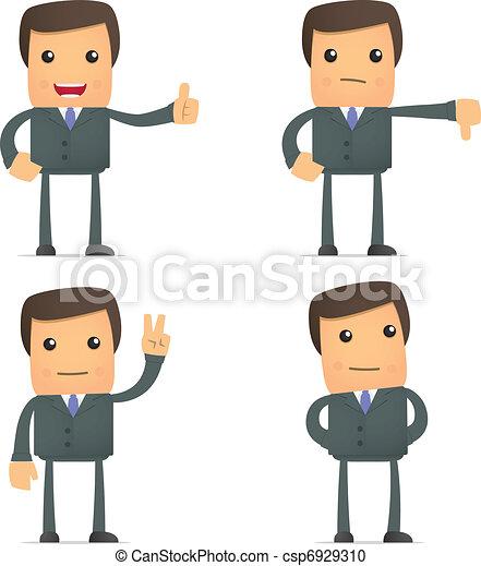 divertente, pollice, giù, uomo affari, presa, cartone animato - csp6929310