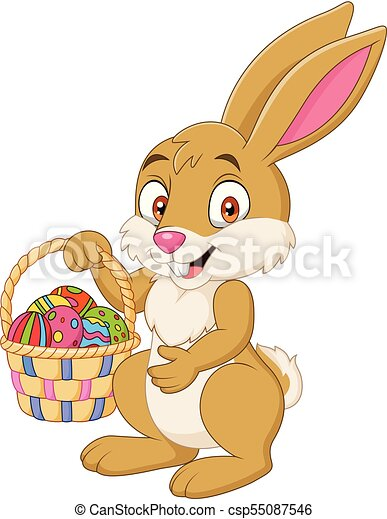 divertente, presa a terra, coniglio, cesto, pasqua, cartone animato - csp55087546
