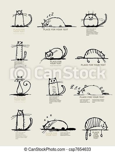 divertente, schizzo, testo, gatti, disegno, posto, tuo - csp7654633