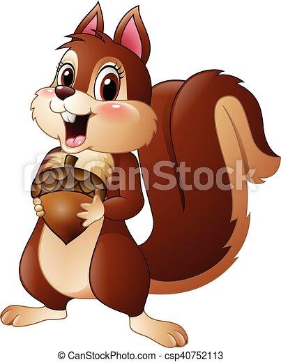 Divertente scoiattolo cartone animato pino presa a terra