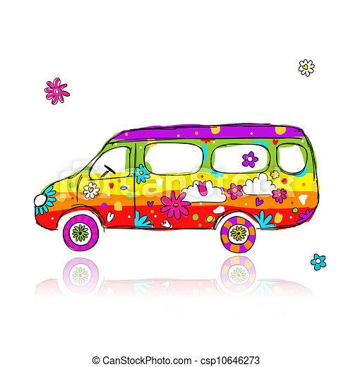 divertente, scuola, disegno, tuo, autobus - csp10646273