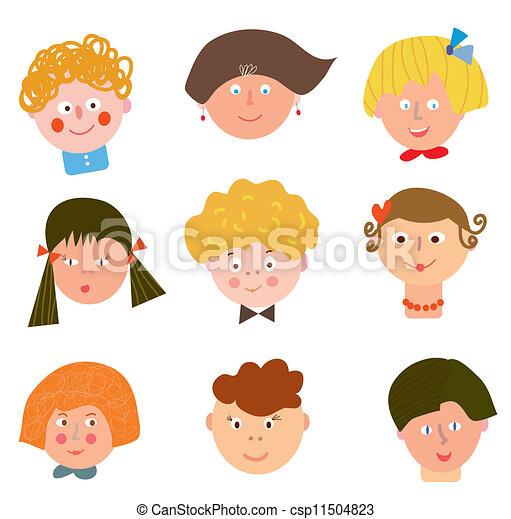 spesso Divertente, set, bambini, facce, cartoni animati illustrazione  FB08