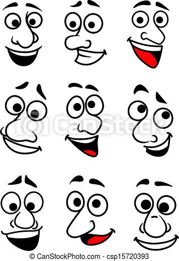 divertente, set, cartone animato, facce - csp15720393