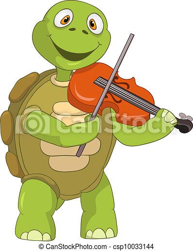 divertente, turtle., violinist. - csp10033144
