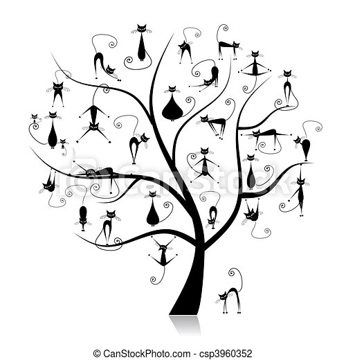 Divertido 27 árbol Genealógico Siluetas Gatos Negro