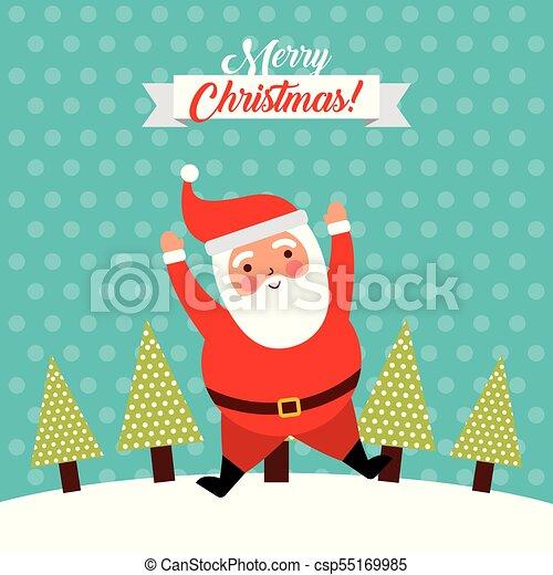 Feliz Navidad salta Santa Claus gracioso - csp55169985