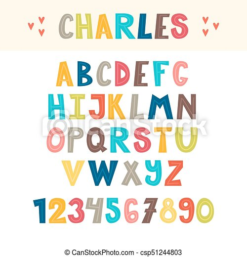 Una mano colorida dibujada por el alfabeto inglés. Lindas letras y números. Font - csp51244803