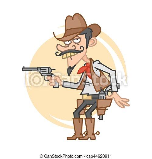 Un vaquero gracioso con pistola - csp44620911
