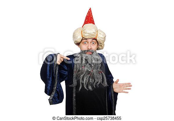 Gracioso mago sabio aislado en el blanco - csp25738455