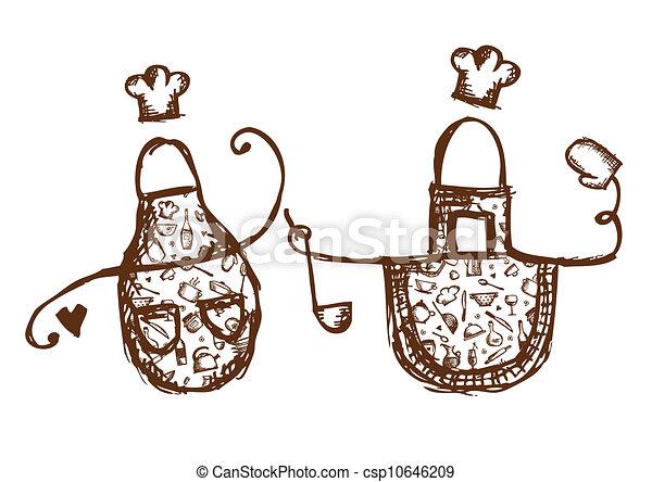 Divertido bosquejo utensilios dise o delantales su for Utensilios de cocina logo