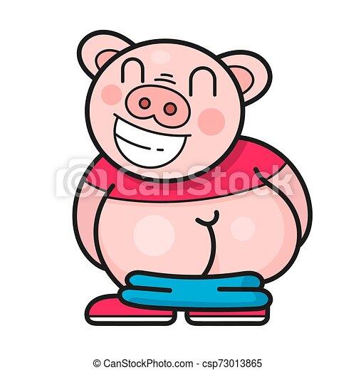 Un cerdo gracioso se ríe de un buen vector de bromas - csp73013865