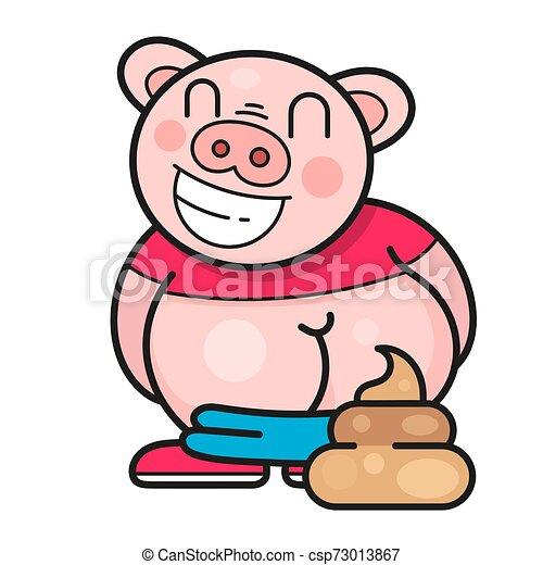Un cerdo gracioso se ríe de un buen vector de bromas - csp73013867