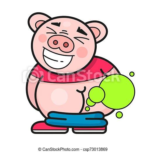 Un cerdo gracioso se ríe de un buen vector de bromas - csp73013869