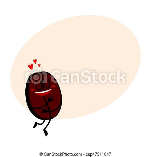 Un personaje divertido de grano de café con cara humana mostrando amor - csp47311047
