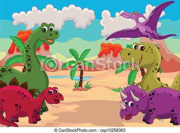 Divertido Caricatura De Dinosaurios Ilustracion Del Vector De Caricaturas Comicas Canstock Además, sus características generales, hábitos sociales y más. divertido caricatura de dinosaurios
