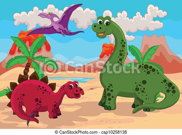 Divertido Caricatura De Dinosaurios Ilustracion Del Vector De Caricaturas De Dinosaurios Canstock Ordena las piezas en este rompecabezas hecho con la foto de un tiranosaurio rex dentro de un museo. divertido caricatura de dinosaurios