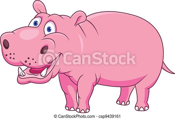 Gracioso dibujo de hipopótamo - csp9439161