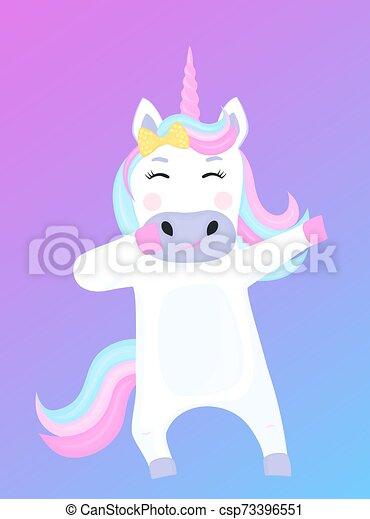 Gracioso personaje de dibujos animados de unicornio. Ilustración de vectores - csp73396551