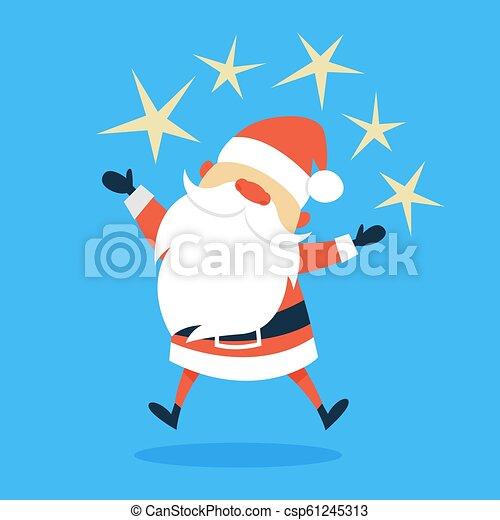 Feliz gracioso Santa Claus con ropa roja - csp61245313