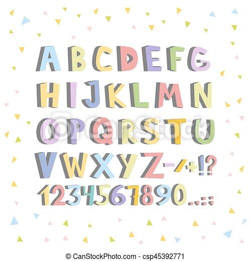 Una fuente cómica. Cartas de alfabeto inglesas de dibujos animados. Ilustración de vectores - csp45392771