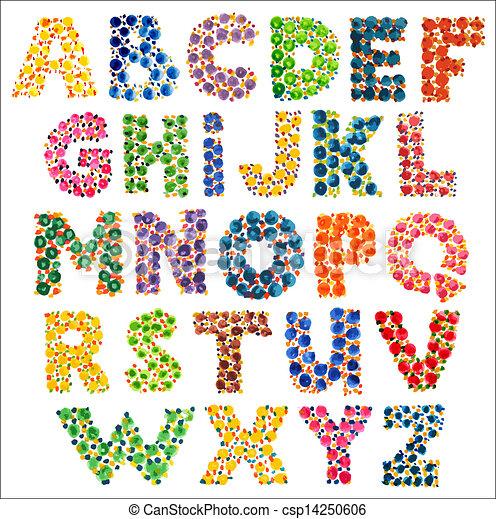 Divertido, colorido, punteado, alfabeto. Acuarela, impresiones, dedo.