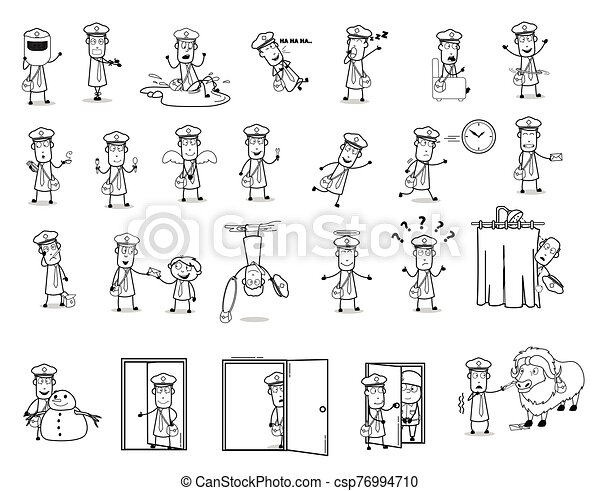 divertido, conceptos, vector, ilustraciones, carácter, -, conjunto, cartero, colección - csp76994710