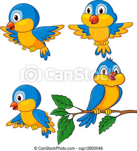 Divertidos dibujos animados de pájaros - csp12800046