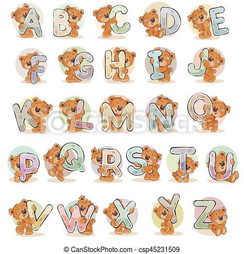 Pon las letras vectoriales del alfabeto inglés con oso de peluche divertido - csp45231509