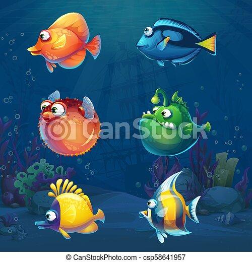 Una serie de dibujos animados de peces graciosos en el mundo submarino - csp58641957
