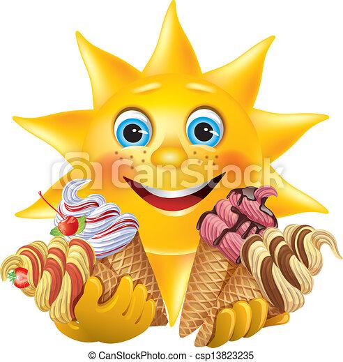 Sol divertido con deliciosos helados - csp13823235