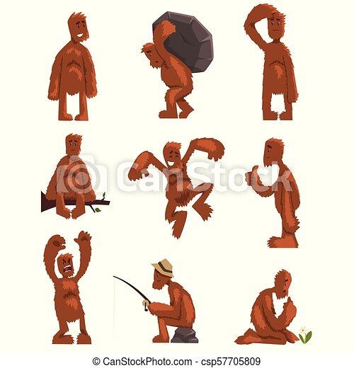 Divertido personaje de dibujos animados de Bigfoot, criatura mítica en diferentes situaciones vector de ilustraciones en un fondo blanco - csp57705809