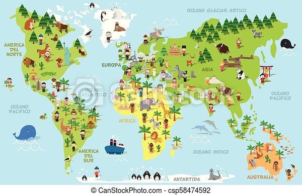 Divertido mapa de dibujos animados con niños de diferentes nacionalidades, animales y monumentos de todos los continentes y océanos. Nombres en español. - csp58474592