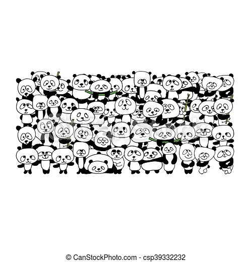 Familia panda divertida para tu diseño - csp39332232