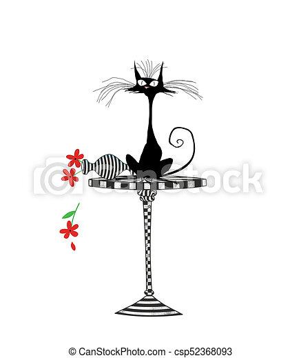 Un gato asustado que golpea un jarrón aislado en blanco - csp52368093