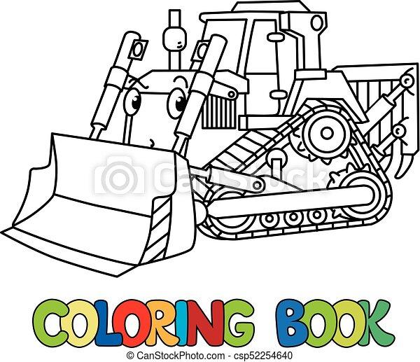 Divertido, excavadora, libro colorear, pequeño, eyes. Divertido ...