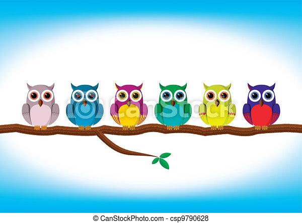 Curiosos búhos coloridos seguidos - csp9790628