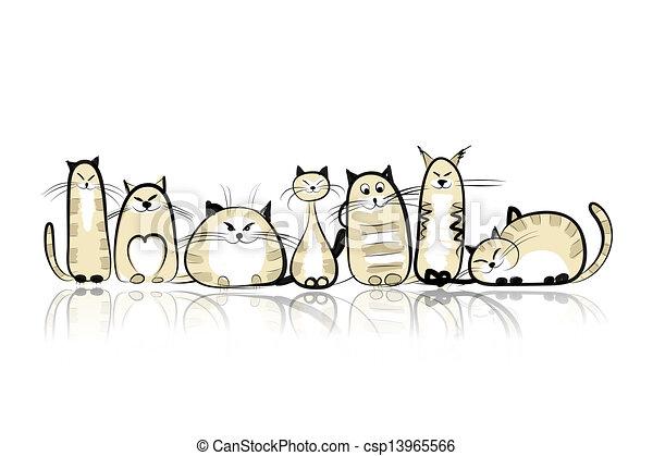 Los gatos graciosos son familia para tu diseño - csp13965566