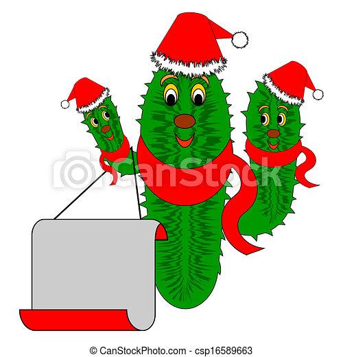 Cactus navideño gracioso con un papel en blanco - csp16589663