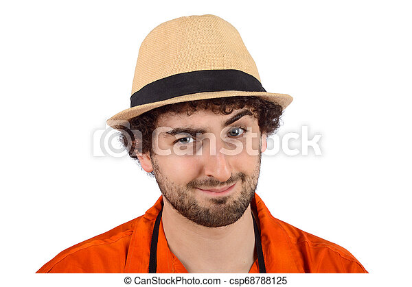 Un hombre con una expresión graciosa. - csp68788125