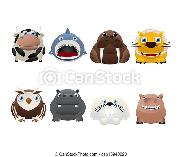 Divertidos iconos animales - csp15940220
