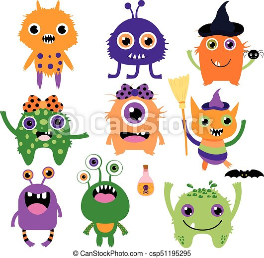 Divertido, lindo, púrpura, halloween, colores, vector, tonto ...