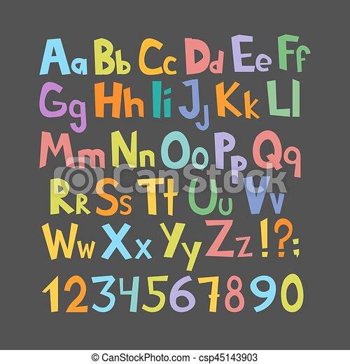 Una fuente cómica. A mano dibujado bajo y colorido colorido alfabeto inglés con letras de bajo y en el torso. Ilustración de vectores - csp45143903
